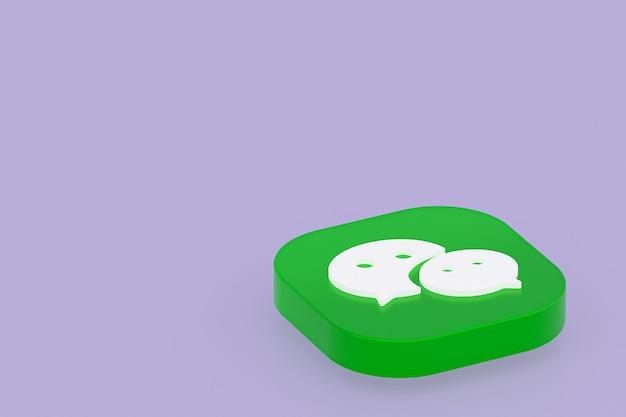 Rendu 3d du logo de l'application wechat sur fond violet