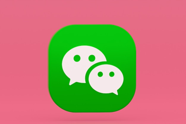 Rendu 3d du logo de l'application wechat sur rose