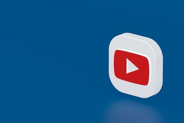 Rendu 3d du logo de l'application youtube sur fond bleu
