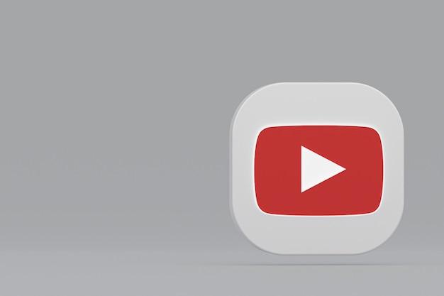 Rendu 3d du logo de l'application youtube sur fond gris