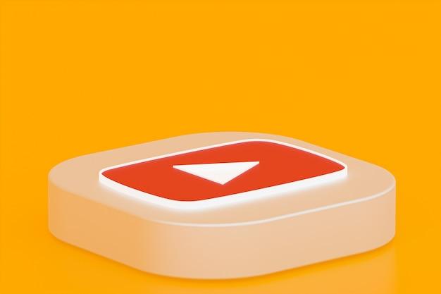 Rendu 3d du logo de l'application youtube sur fond jaune
