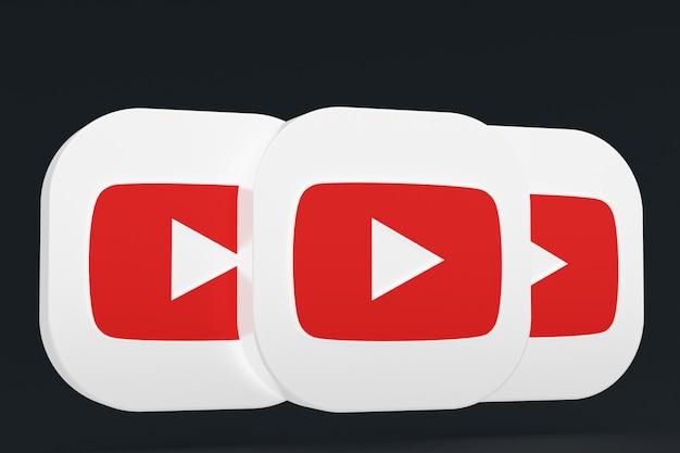 Rendu 3d du logo de l'application youtube sur fond noir