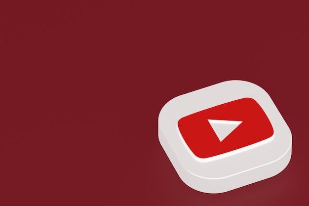 Rendu 3d du logo de l'application youtube sur fond rouge