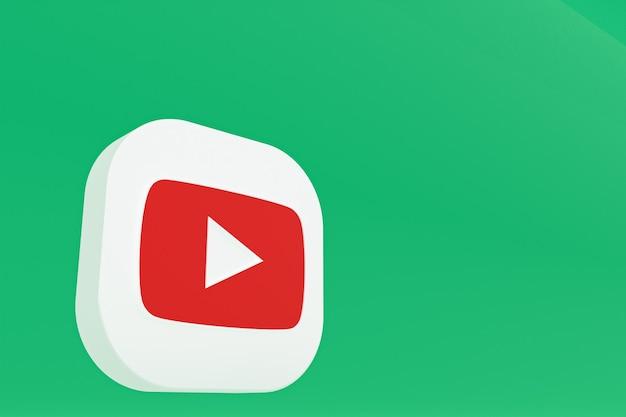 Rendu 3d du logo de l'application youtube sur fond vert
