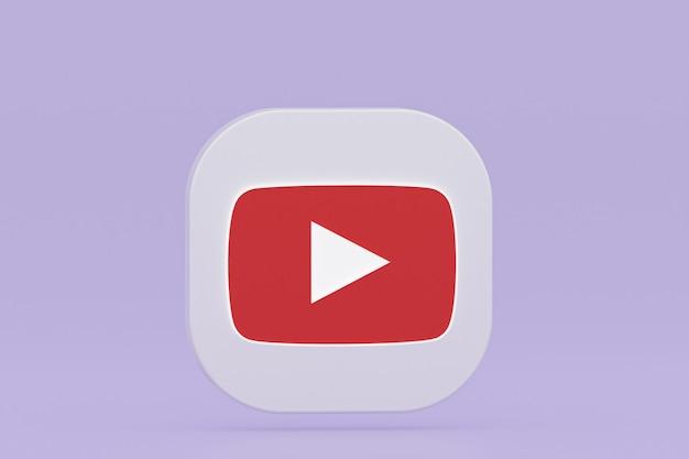 Rendu 3d du logo de l'application youtube sur fond violet