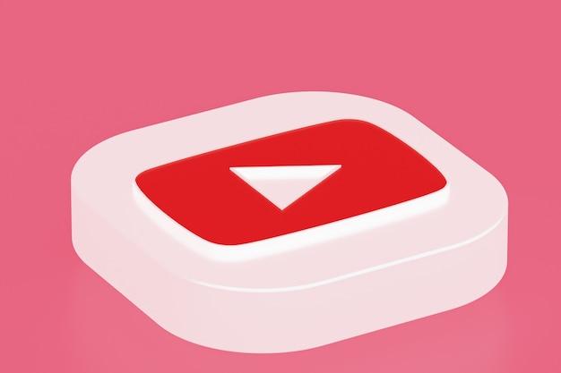 Rendu 3d du logo de l'application youtube sur la surface rose