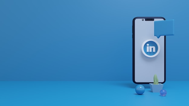 Rendu 3d du logo linkedin sur l'écran du smartphone