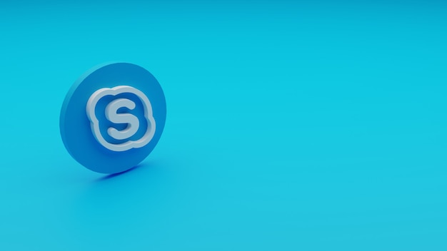Rendu 3d du logo skype avec copyspace