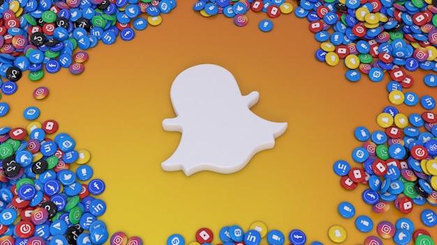 Rendu 3d du logo snapchat entouré de nombreuses pilules brillantes de réseaux sociaux les plus populaires