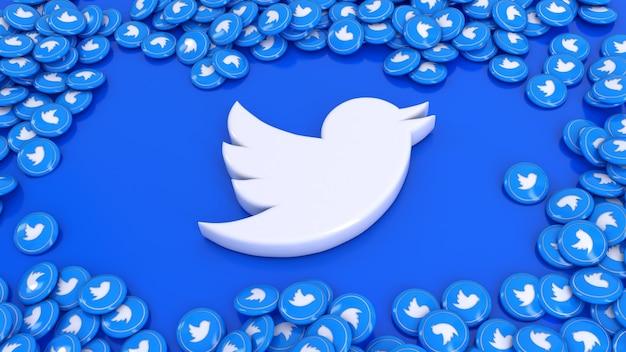 Le rendu 3d du logo twitter entouré de beaucoup de pilules brillantes twitter sur fond bleu