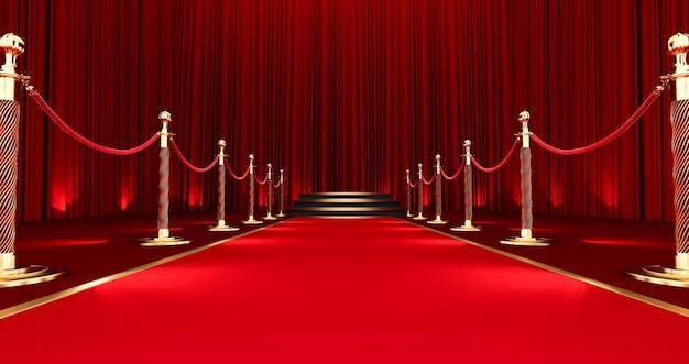 Rendu 3d du long tapis rouge entre les barrières de corde, tapis rouge réaliste et piédestal.