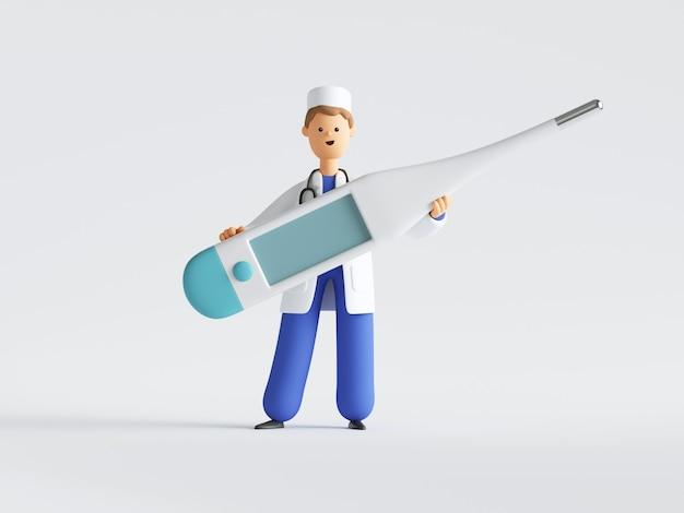 Rendu 3d du médecin de personnage de dessin animé en uniforme et stéthoscope tenant un grand thermomètre.