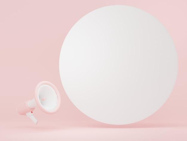 Rendu 3d du mégaphone avec bulle de dialogue et espace de copie pour la maquette et la bannière web