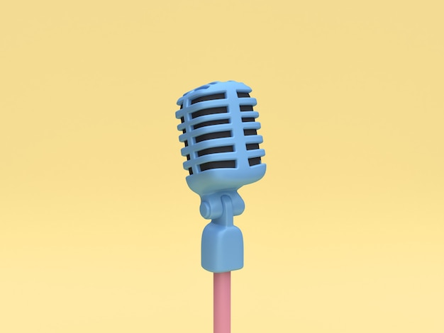 Rendu 3d du microphone bleu
