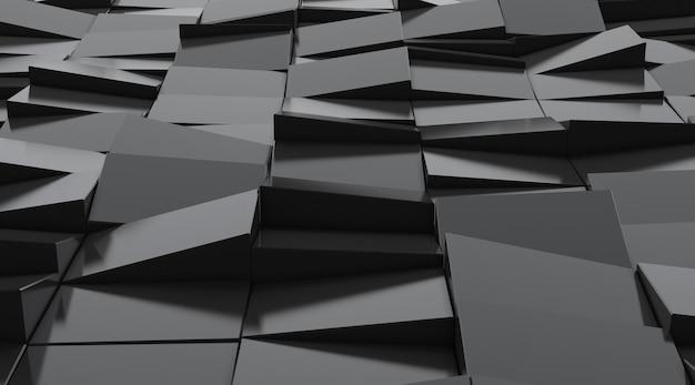 Rendu 3d du modèle de géométrie abstraite sombre.