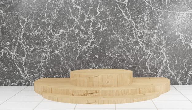 Rendu 3d du modèle de podium en bois sur fond de marbre noir illustration premium photo