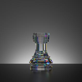 Rendu 3d du morceau de tour de cristal isolé d'un jeu d'échecs