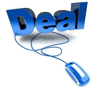 Rendu 3d du mot deal connecté à une souris d'ordinateur
