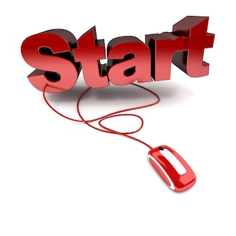 Rendu 3d du mot démarrer en rouge connecté à une souris d'ordinateur