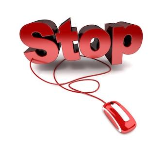 Rendu 3d du mot stop en rouge connecté à une souris d'ordinateur