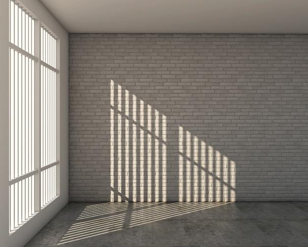 Rendu 3d du mur de briques blanches et de style loft
