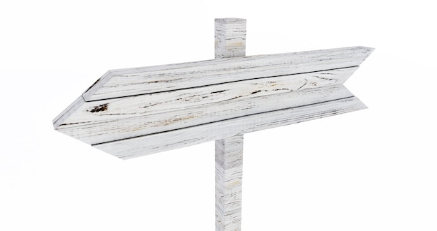 Le rendu 3d du panneau en bois vide isolé sur fond blanc