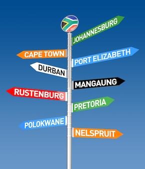 Rendu 3d du panneau de signalisation de la ville d'afrique du sud