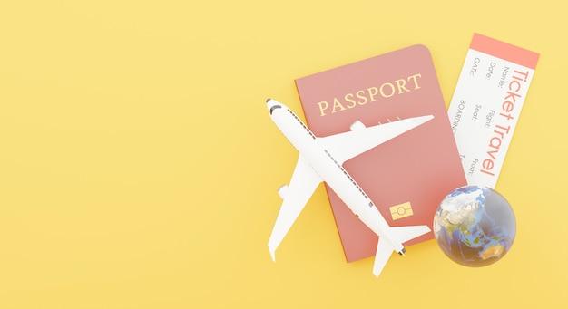 Rendu 3d du passeport avec décoration et le concept de tourisme