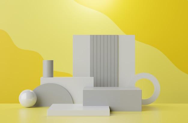 Le rendu 3d du pastel affiche la scène du podium pour la présentation des maquettes et des produits avec un fond jaune et gris lumineux.