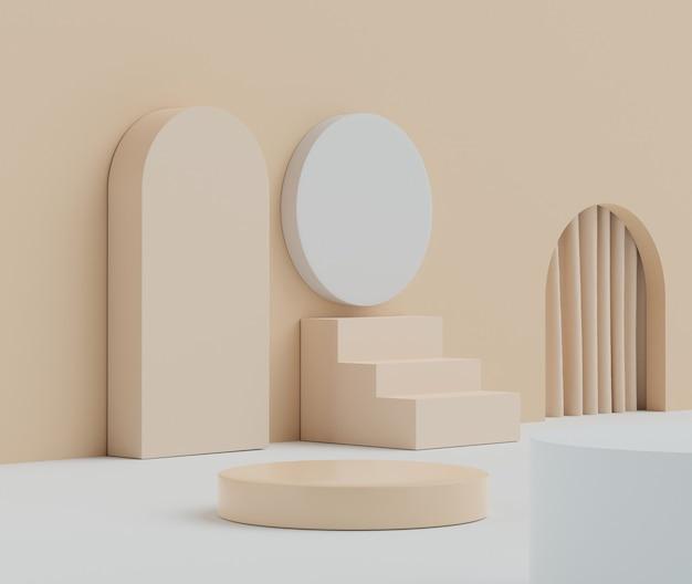 Le rendu 3d du pastel affiche la scène du podium pour la présentation de maquettes et de produits avec un fond minimal.
