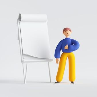 Rendu 3d du personnage de dessin animé de l'homme. conférencier debout près du panneau de présentation.