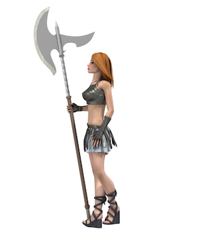 Rendu 3d du personnage féminin guerrier