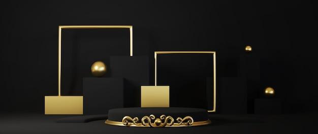 Rendu 3d du piédestal isolé sur fond noir, cadre or, panneau commémoratif, concept minimal abstrait, maquette minimaliste de luxe