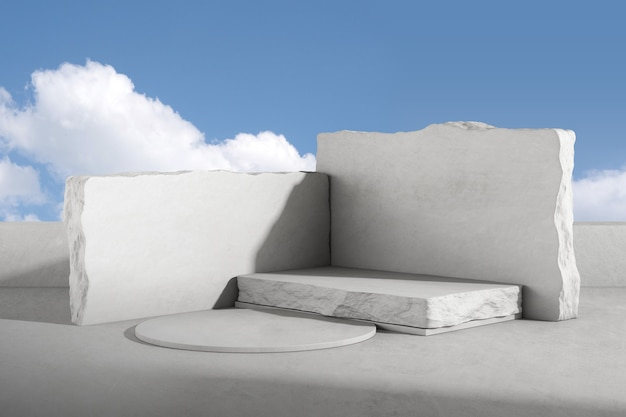 Rendu 3d du podium en béton et en pierre pour la présentation du produit sur fond de ciel. piédestal ou plate-forme.