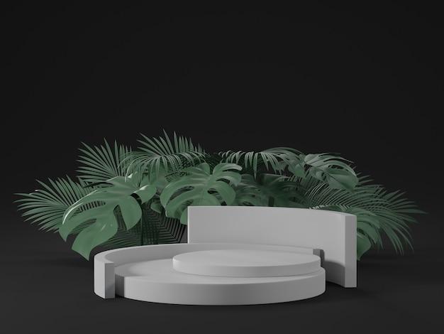 Rendu 3d du podium blanc avec des feuilles de monstera