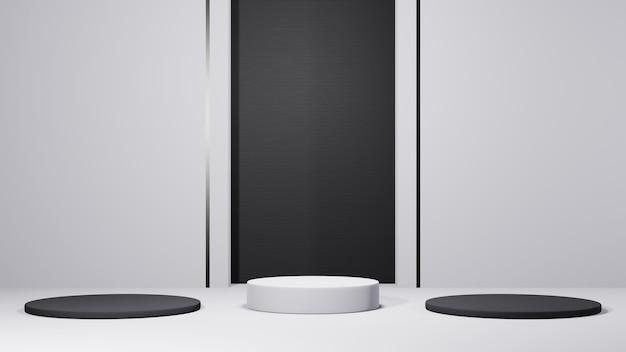 Rendu 3d du podium blanc pour l'affichage des produits et fond de tons noir et blanc. maquette pour le produit d'exposition.