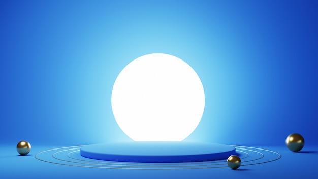 Rendu 3d du podium bleu avec boule lumineuse et sphères dorées