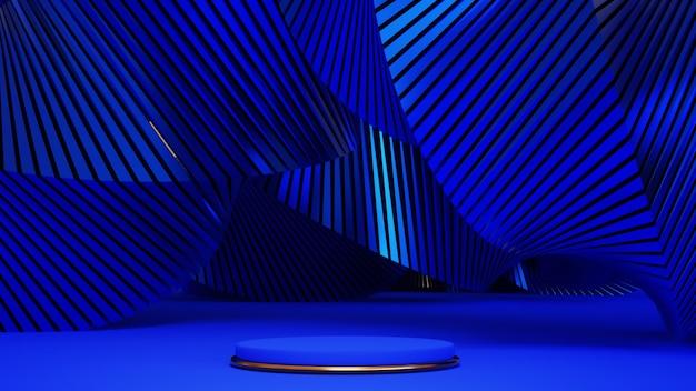 Rendu 3d du podium bleu et or. fond avec composition géométrique, support semi-circulaire. design moderne.