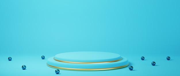 Rendu 3d du podium bleu et or avec des sphères bleues