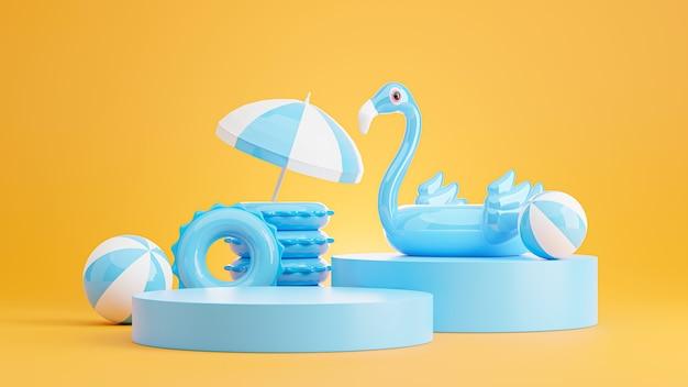 Rendu 3d du podium bleu avec plage d'été, plage parapluie, anneaux de bain, ballon de plage, concept de flamant bleu gonflable pour l'affichage du produit