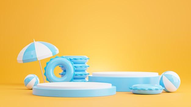 Rendu 3d du podium bleu avec plage d'été, plage parapluie, anneaux de bain, concept de ballon de plage pour l'affichage du produit