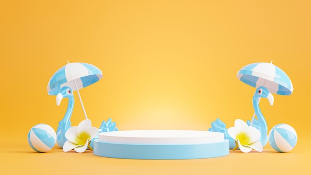 Rendu 3d du podium bleu avec plage d'été, plage parapluie, plumeria, concept de ballon de plage pour l'affichage du produit