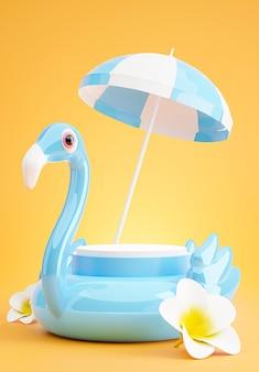 Rendu 3d du podium bleu avec plage d'été, plage parapluie, plumeria, concept de flamant bleu gonflable pour l'affichage du produit