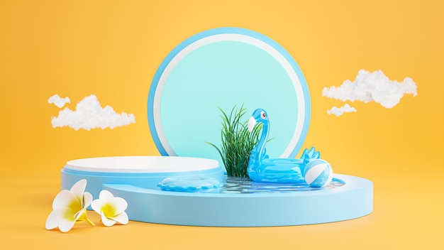 Rendu 3d du podium bleu avec plage d'été, plage parapluie, plumeria, flamant bleu gonflable, concept de piscine pour l'affichage du produit