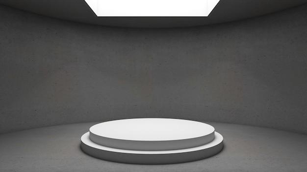 Rendu 3d du podium de cercle pour le produit d'exposition