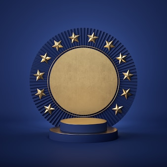 Rendu 3d du podium cylindre abstrait avec des étoiles d'or