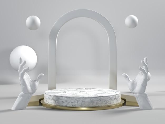 Rendu 3d du podium en marbre blanc avec les mains