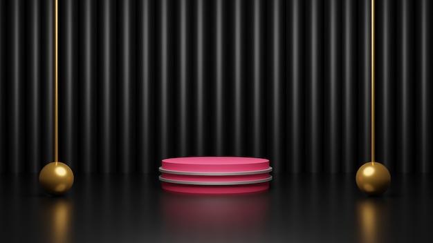 Rendu 3d du podium rose sur fond noir foncé brillant avec des boules d'or