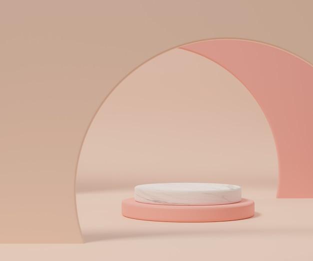 Rendu 3d du podium de style minimal ou d'un piédestal sur fond pastel coloré concept abstrait.