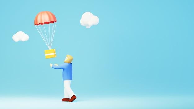 Rendu 3d du produit d'expédition et d'un homme. achats en ligne et e-commerce sur le concept d'entreprise web. transaction de paiement en ligne sécurisée avec smartphone.